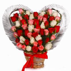 Heart Shape Arrangement of 50 Multi Color Roses