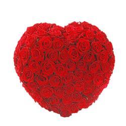 Heart Shape Arrangement of 60 Red Roses