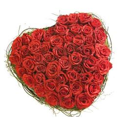 Heart Shape Arrangement of 70 Red Roses