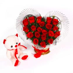 Heart Shape Arrangement of Red Roses with Cute Teddy Bear