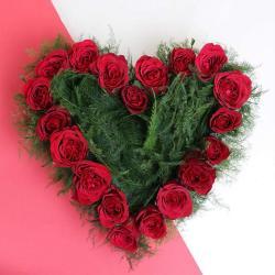 Heart Shape Basket Arrangement of Twenty Red Roses