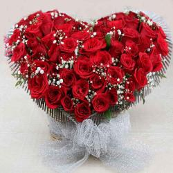Heart Shape Beautiful Arrangement of Red Roses