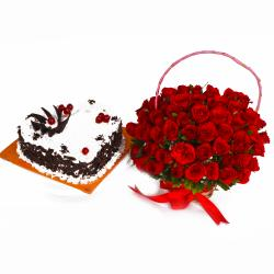 Heart Shape Black Forest Cake and Basket of Red Roses