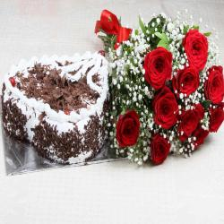 Heart Shape Black Forest Cake with Red Roses Bouquet