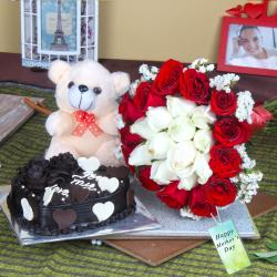 Heart Shape Cake and Soft Teddy with Roses for Mothers Day