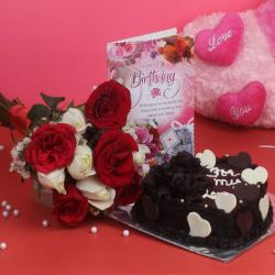 Heart Shape Cake and Ten Mix Roses Bouquet with Birthday Card