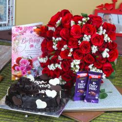 Heart Shape Chocolate Birthday Cake Hamper for Party Gift
