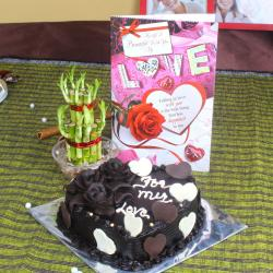 Heart Shape Chocolate Cake with Goodluck Wishes and Love Card