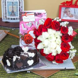 Heart Shape Chocolate Cake with Roses Bouquet and Love Greeting Card