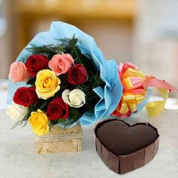 Heart shape Dark Chocolate Cake with Mix Flowers