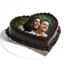 Heart Shape Dark Chocolate Photo Cake for Couple