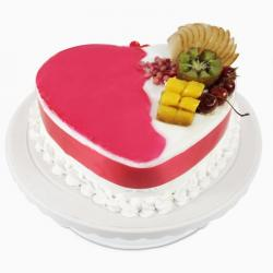 Heart Shape Mix Fresh Fruit Sugar Free Cake