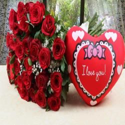 Heart Shape Small Cushion with Red Roses Bouquet