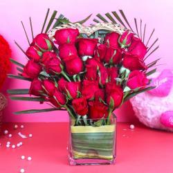Heart Shape Thirty Red Roses Arrangement