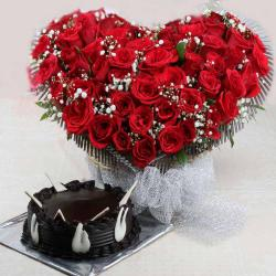 Heart Shaped Red Roses Basket with Chocolate Cake