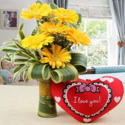 Heart Shaped Small Cushion with Gerberas in Vase