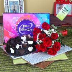 Heartshape Cake with Roses Bouquet and Cadbury Celebration Chocolate Pack