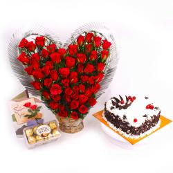 Hearty Roses and Cake Combo
