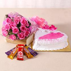 Hearty Strawberry Cake and Pink Roses Combo