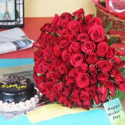 Hundred Red Roses Bouquet with Chocolate Cake