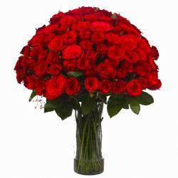 Hundred Red Roses Vase Arrangement