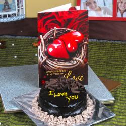 I Love You Chocolate Cake with Love Greeting Card