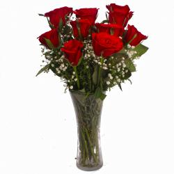 Infatuation in Love with 12 Red Roses Vase