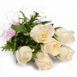Innocent Six White Roses Wrapped