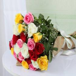 Jute Wrapped Mixed Roses Bouquet