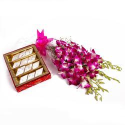 Kaju Barfi and Purple Orchids Bouquet