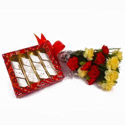 Kaju Katli Sweets with Fresh Carnations Bouquet
