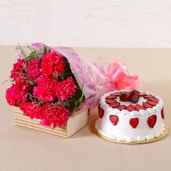 Lovely 10 Pink Carnations with Fresh Cream Strawberry Cake