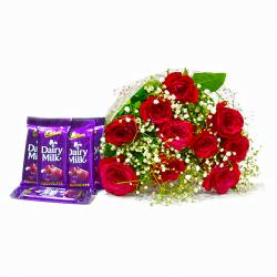 Lovely 10 Red Roses with Five Cadbury Dairy Milk Chocolate Bars