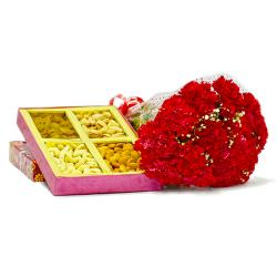Lovely 12 Red carnation with Box of Mix Dry fruits