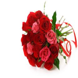 Lovely 16 Red And Pink Roses Bouquet