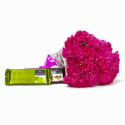 Lovely 20 Pink Carnations Bouquet with Cadbury Temptation Chocolates