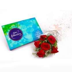 Lovely 6 Red Roses Bunch and Cadbury Celebration Chocolate Box