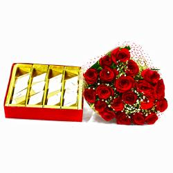 Lovely Bouquet of 20 Red Roses with 1 Kg Kaju Barfi Box