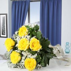 Lovely Bouquet of Six Yellow Roses