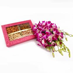 Lovely Bouquet of Ten Orchids with Assorted Dryfruit Box