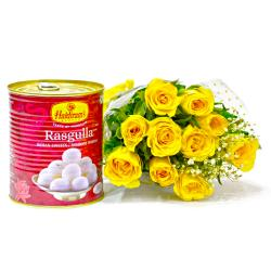 Lovely Bouquet of Ten Yellow Roses with Rasgulla