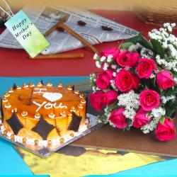 Lovely Gift of Twelve Pink Roses with Butterscotch Cake on Mothers Day
