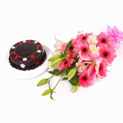 Lovely Pink and White Flowers with Chocolate Cake