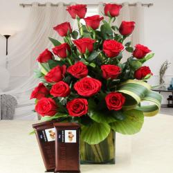 Lovely Red Roses in a Vase and Temptations Chocolates