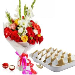 Lovely Roses and Glads Bouquet with Kaju Katli Sweets for Bhai Dooj