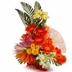Lovely Seasonal Exotic Flowers Basket