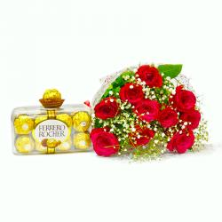 Lovely Ten Red Roses Bouquet with Ferrero Rocher Chocolate Box