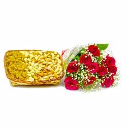 Lovely Ten Red Roses with Basket of Assorted DryFruits