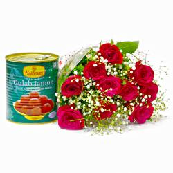 Lovely Ten Red Roses with Tempting Gulab Jamuns