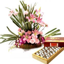 Luring Floral Arrangement with Kaju Burfi
